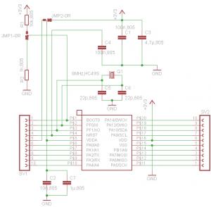 Schaltplan breakout board STM32F030